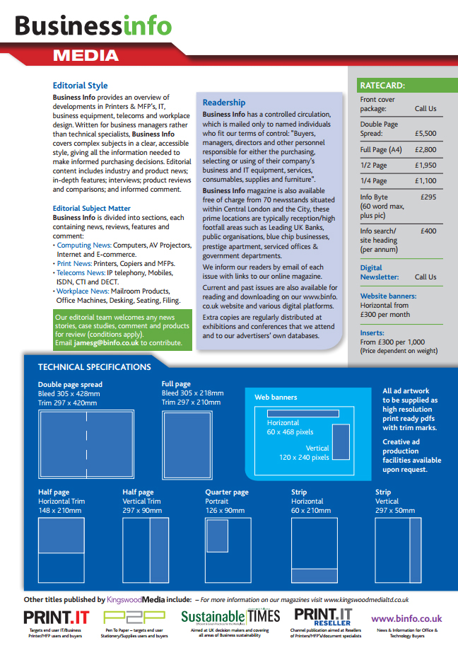 Business Info Magazine Media Pack Page 2