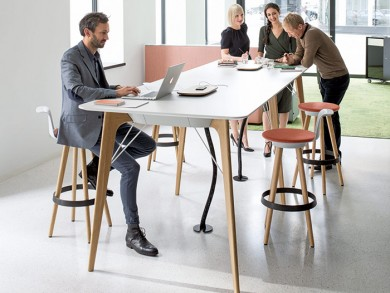 Mobility is transforming web conferencing. Photo shows the Timba Table and Timba Stool designed by Pearson Lloyd for Bene. Timba is designed to stimulate creative co-operation and dynamic teamwork