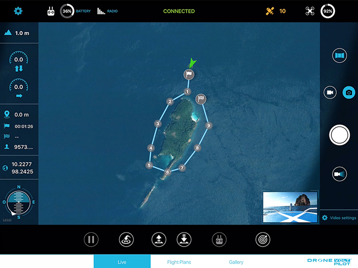 DRONE VOLT Pilot lets users automatically create and save flight plans,