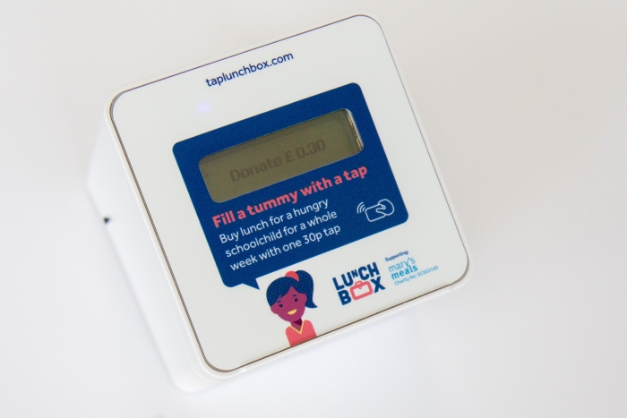 Lunchbox, a contactless payment terminal that enables people buying lunch to make a 30p donation to school feeding charity Mary's Meals with a simple tap of their card
