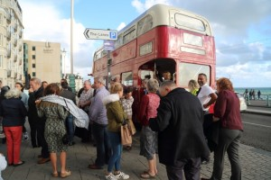 Disembarking the Routemaster bus