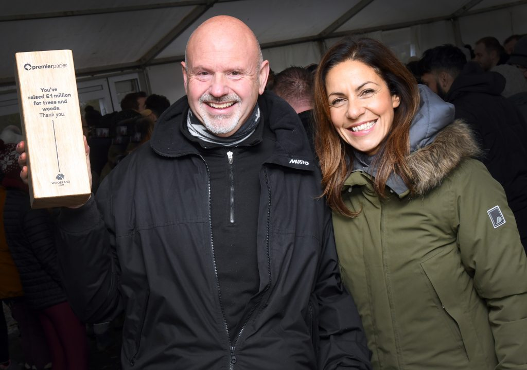 Julia Bradbury presented Premier Group Marketing Director David Jones with a commemorative plaque at a recent tree-planting day.