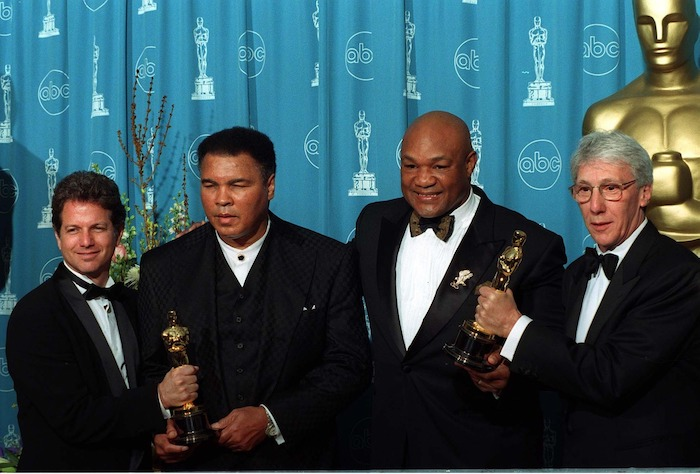 Muhammed Ali and George Foreman with the makers of the documentary When They Were Kings (Picture Paul Smith)